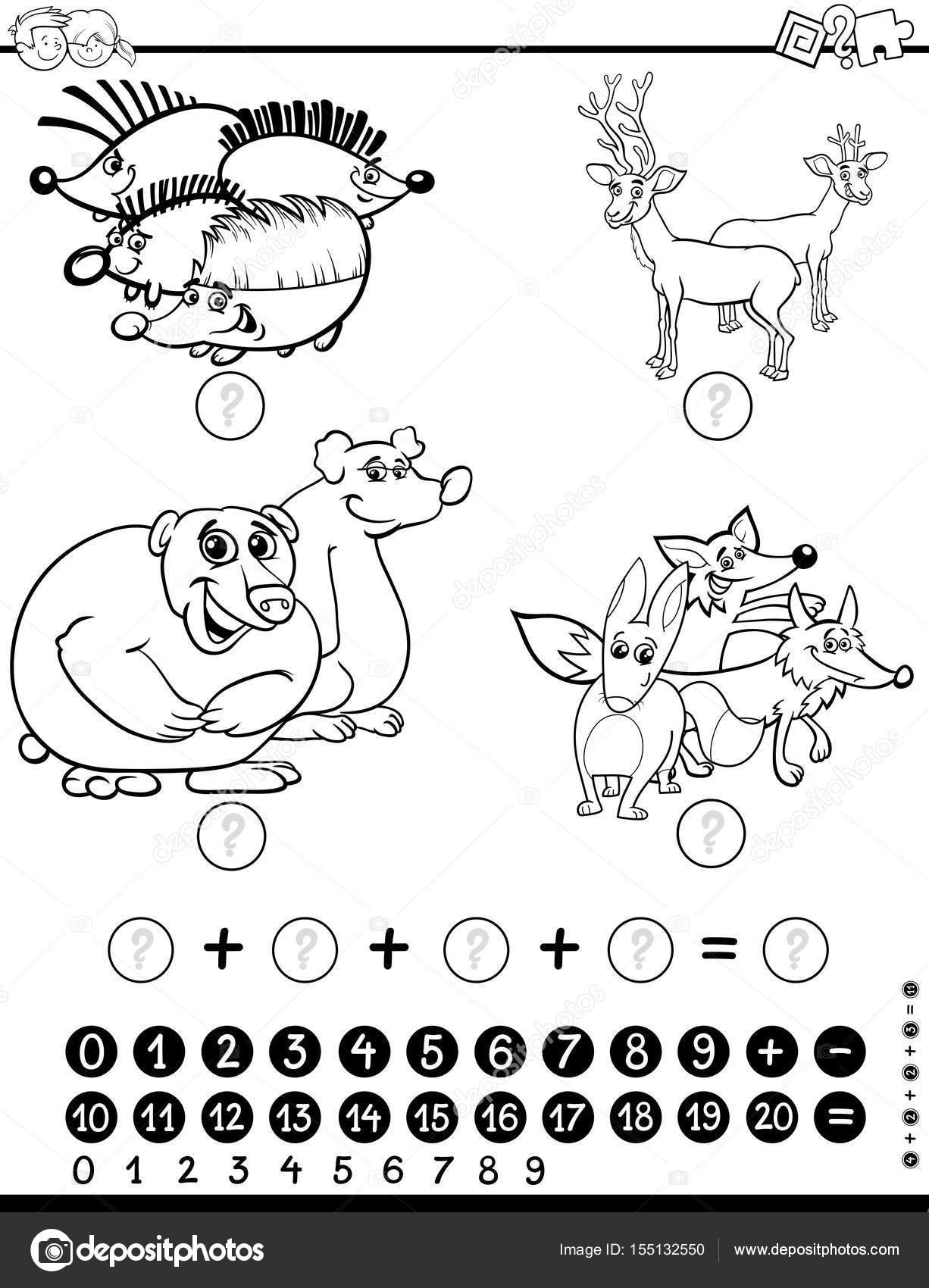 hoja de trabajo de matemáticas para colorear — Archivo Imágenes ...