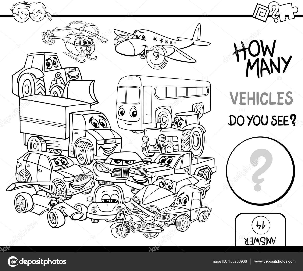 contar los vehículos página para colorear — Archivo Imágenes ...