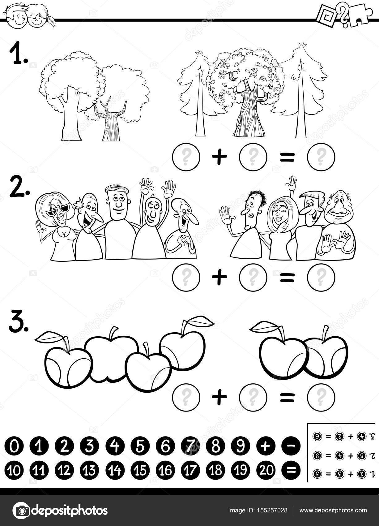 calcular la actividad de matemáticas página para colorear — Vector ...