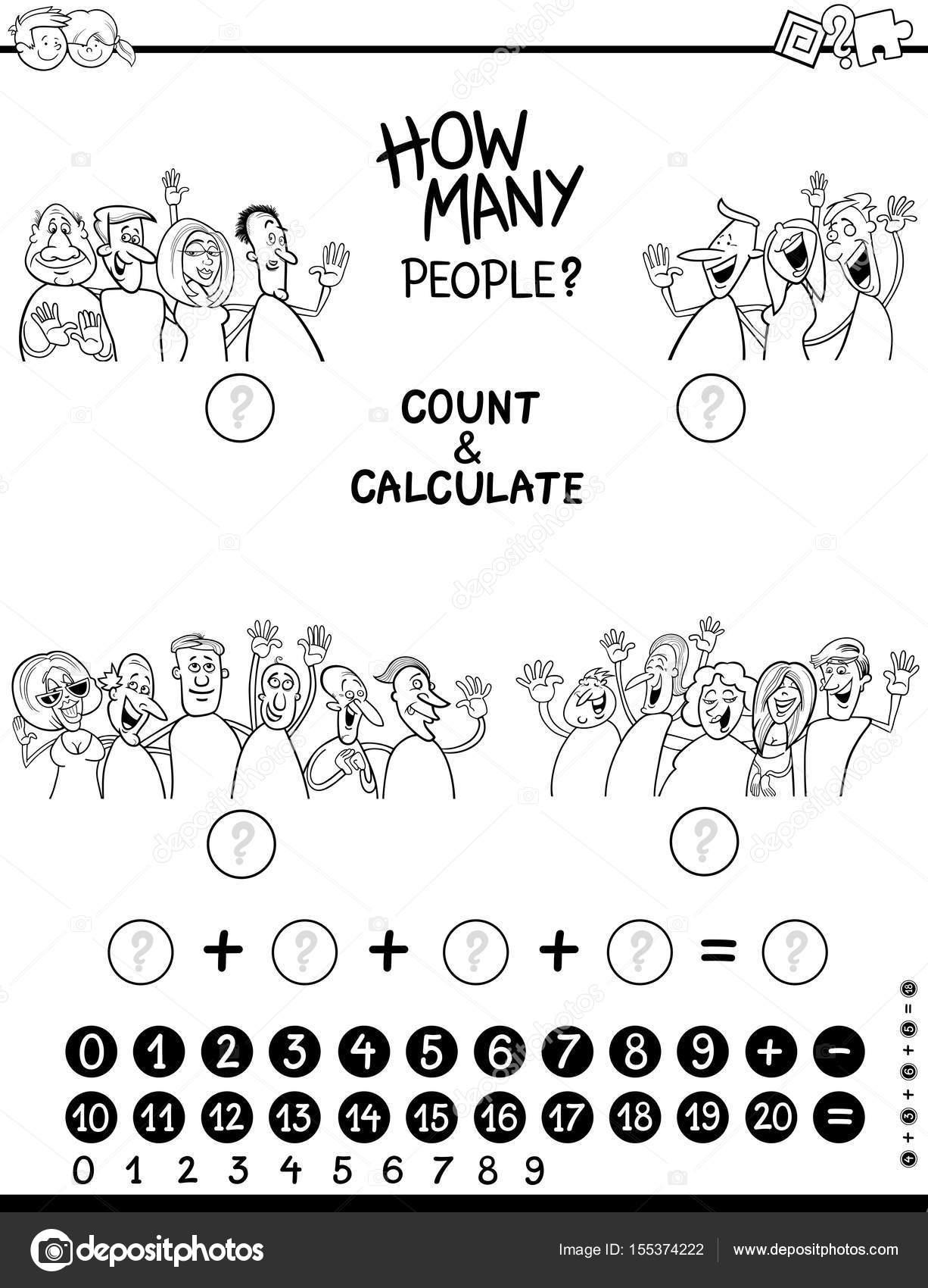 cálculo de página para colorear juego — Vector de stock © izakowski ...