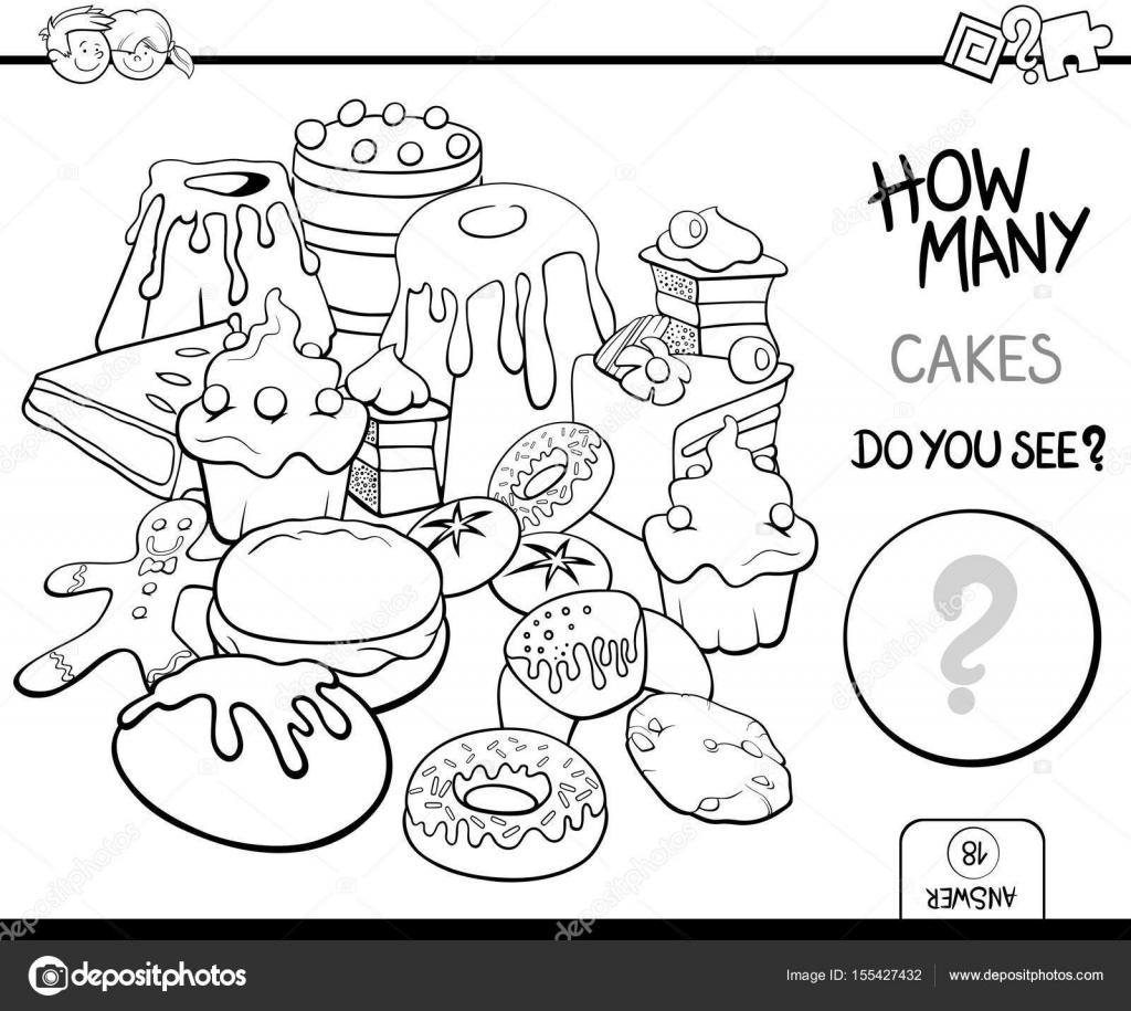 tortas para colorear página de conteo — Vector de stock © izakowski ...