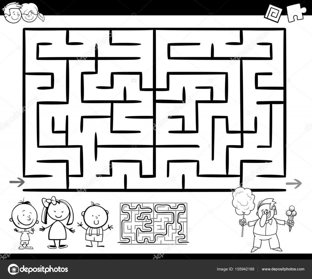 Labirent Veya Labirent Oyun Boyama Sayfası Stok Vektör Izakowski