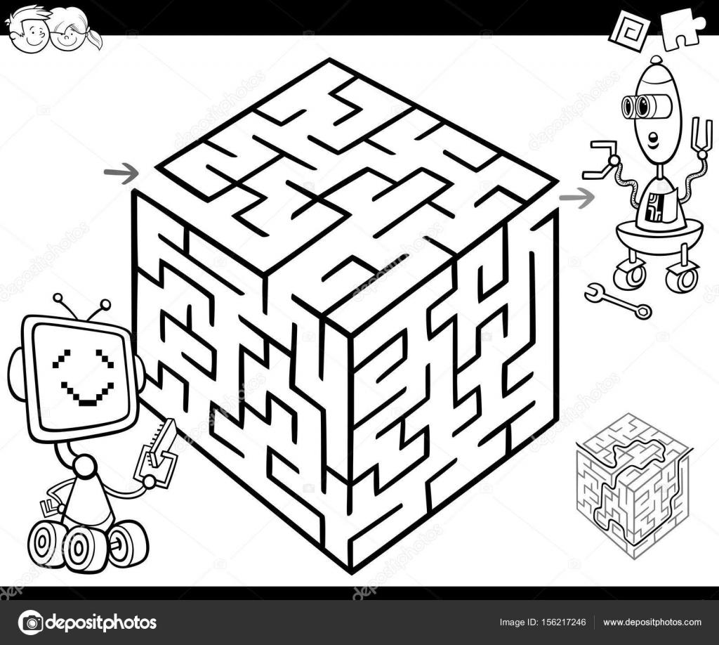 Labyrinth Mit Robotern Zum Ausmalen Stockvektor Izakowski 156217246