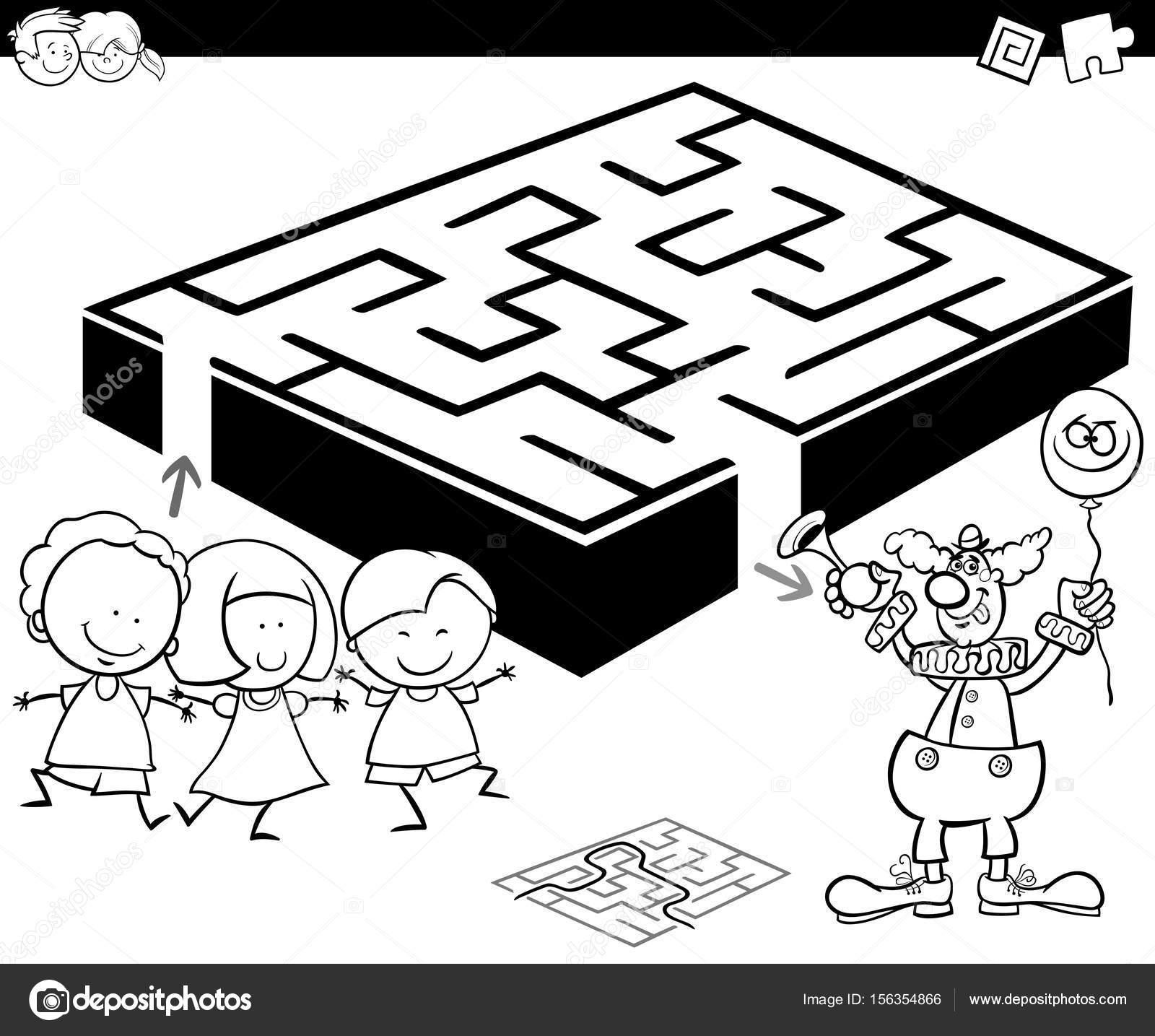 laberinto con niños y payaso para colorear — Archivo Imágenes ...