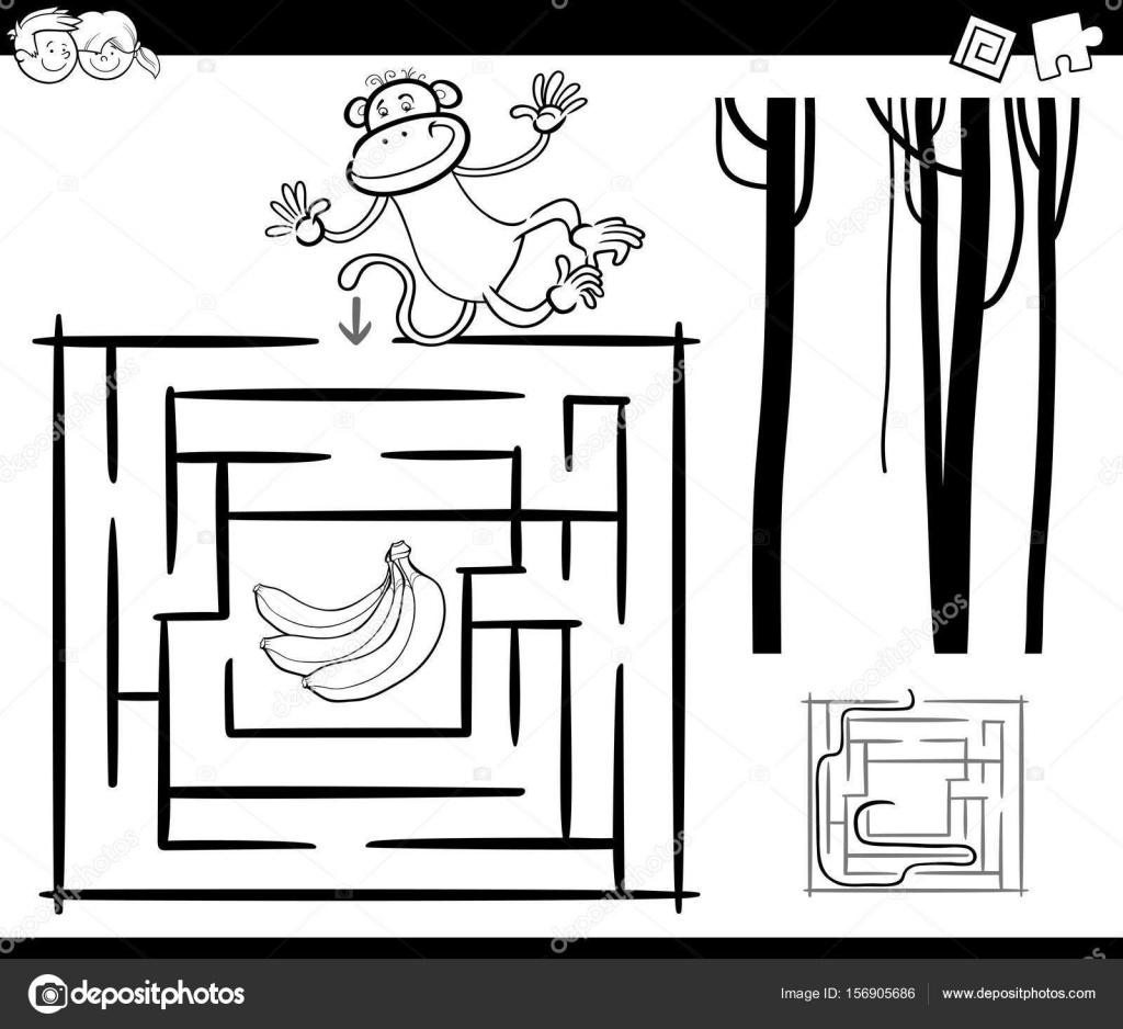 Labyrinth mit Affen Malvorlagen — Stockvektor © izakowski #156905686