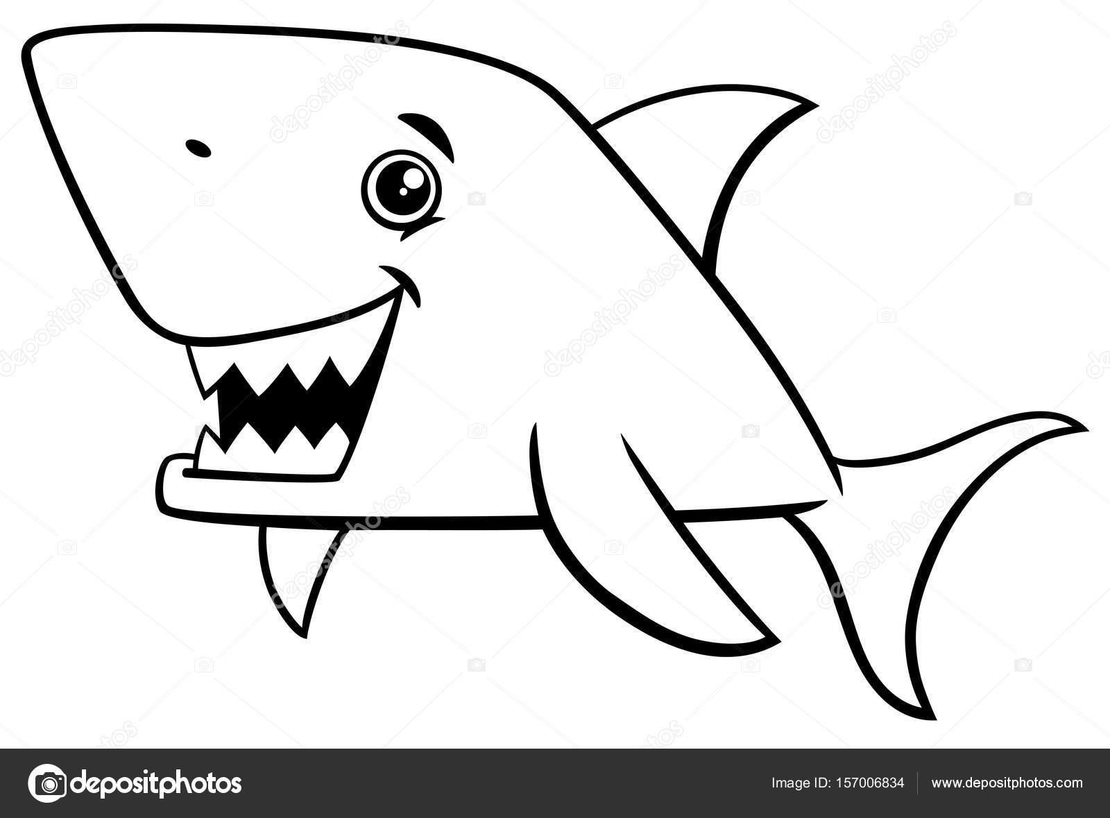 Página para colorear de tiburones pescados — Archivo Imágenes ...