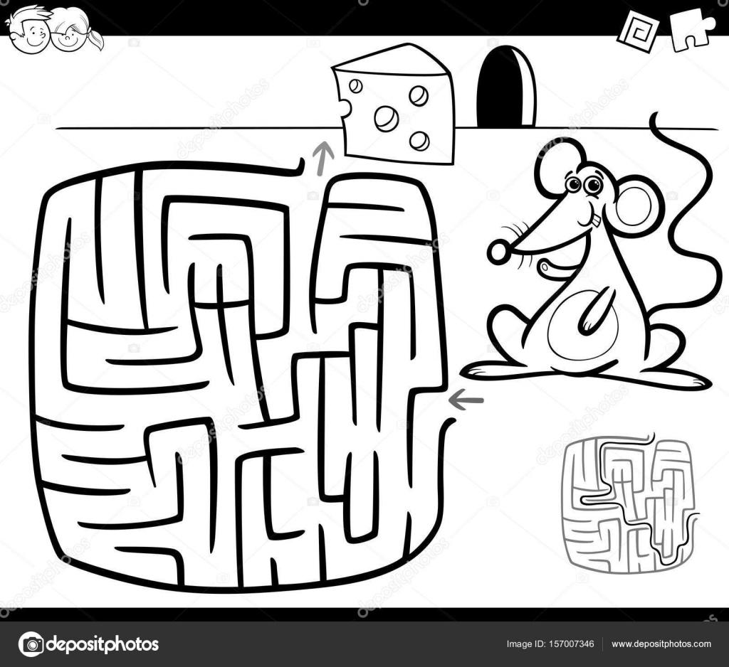 Doolhof Met Muis Kleurplaat Pagina Stockvector C Izakowski 157007346