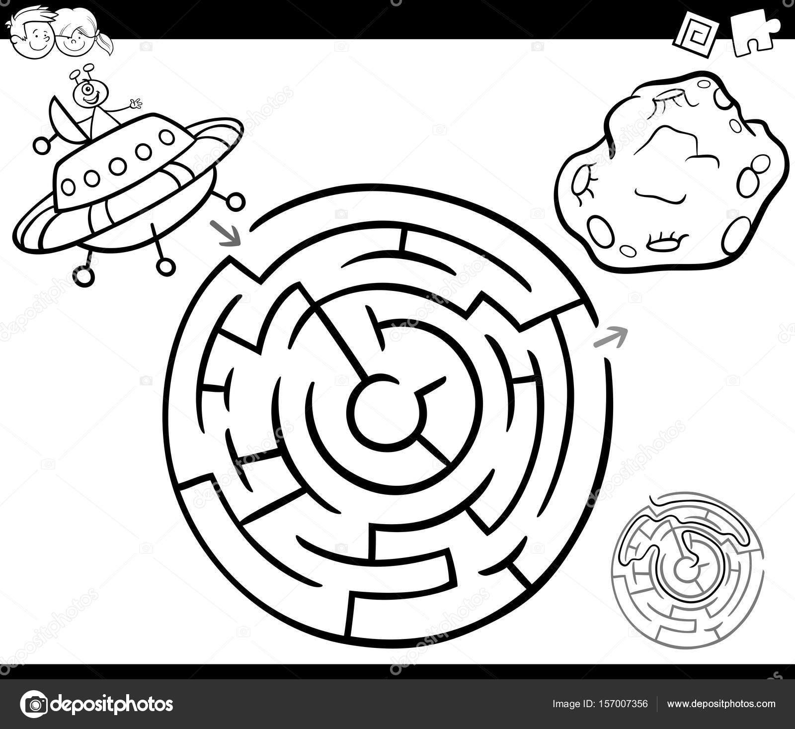 laberinto con ufo página para colorear — Vector de stock © izakowski ...