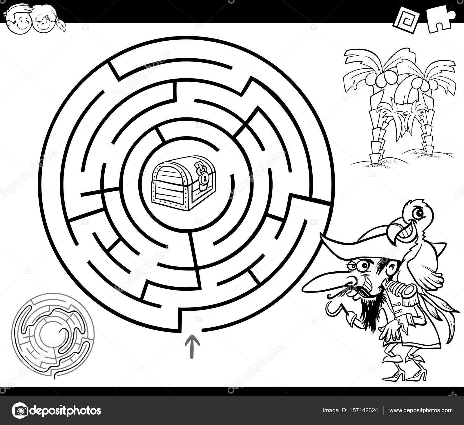 laberinto con página para colorear de piratas — Vector de stock ...