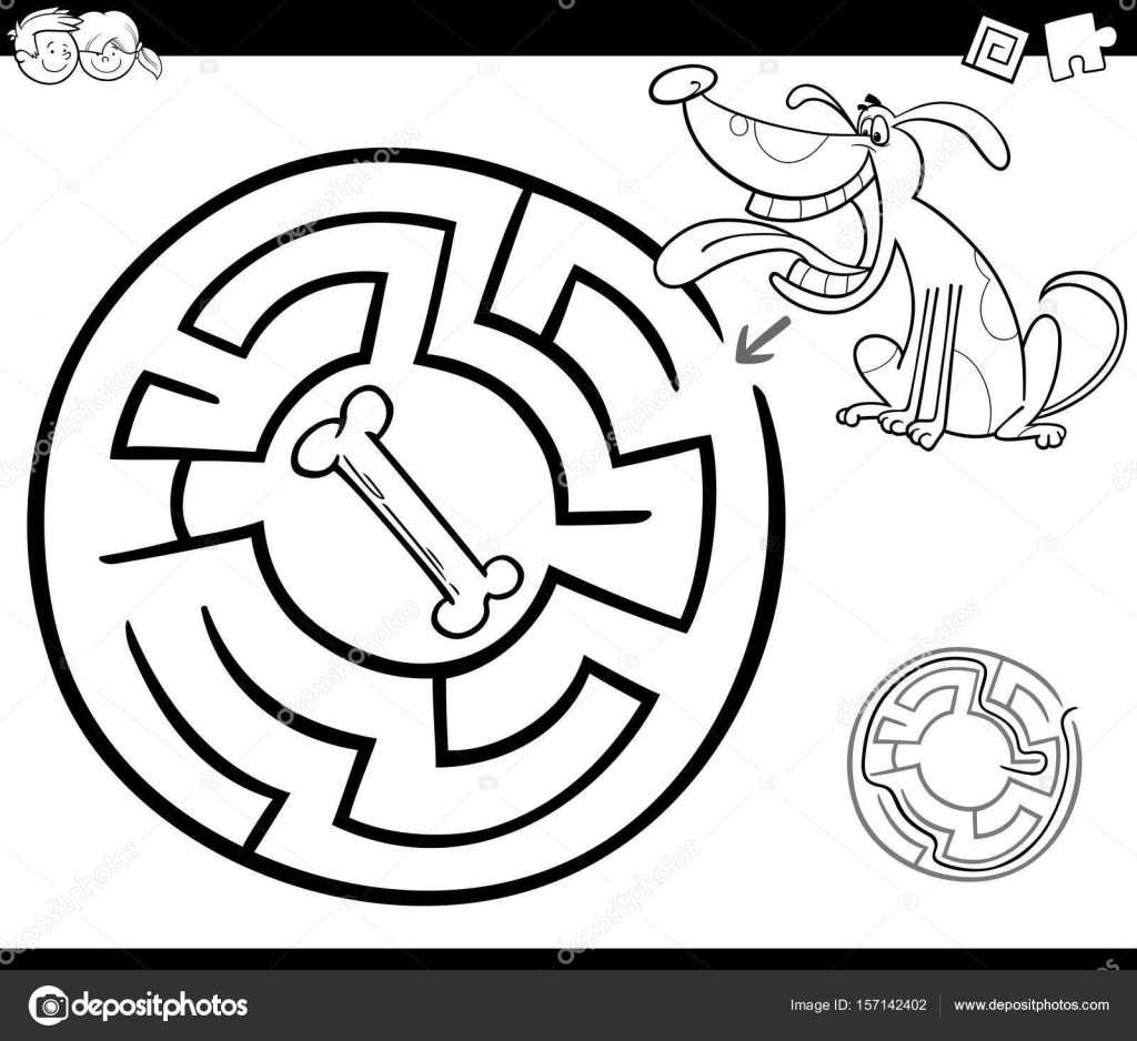 maze with dog coloring page — Stock Vector © izakowski #157142402
