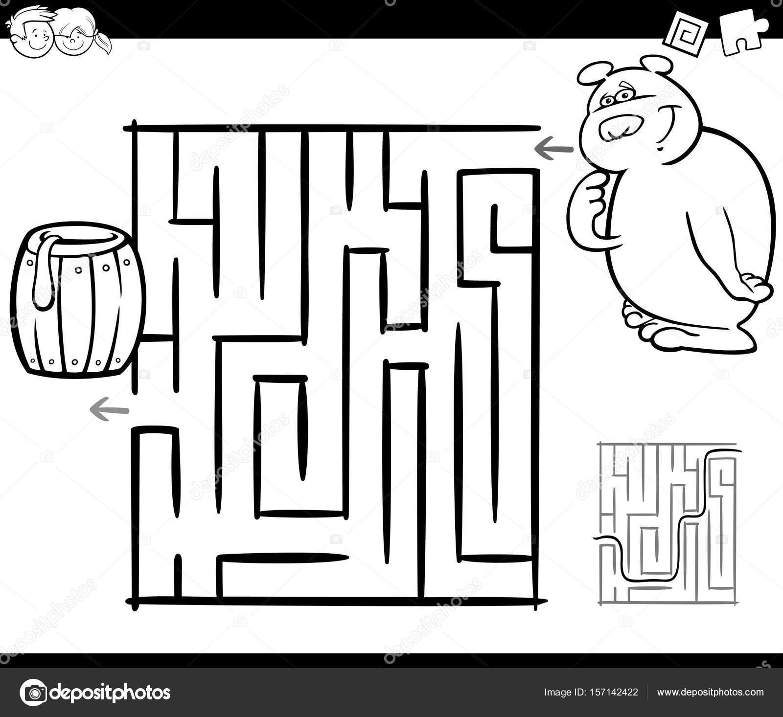 laberinto con oso para colorear página — Archivo Imágenes ...