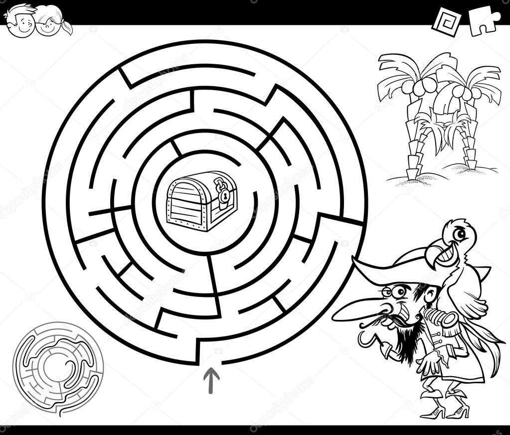 Labyrinth Mit Piraten Malvorlagen Stockvektor Izakowski 157142324