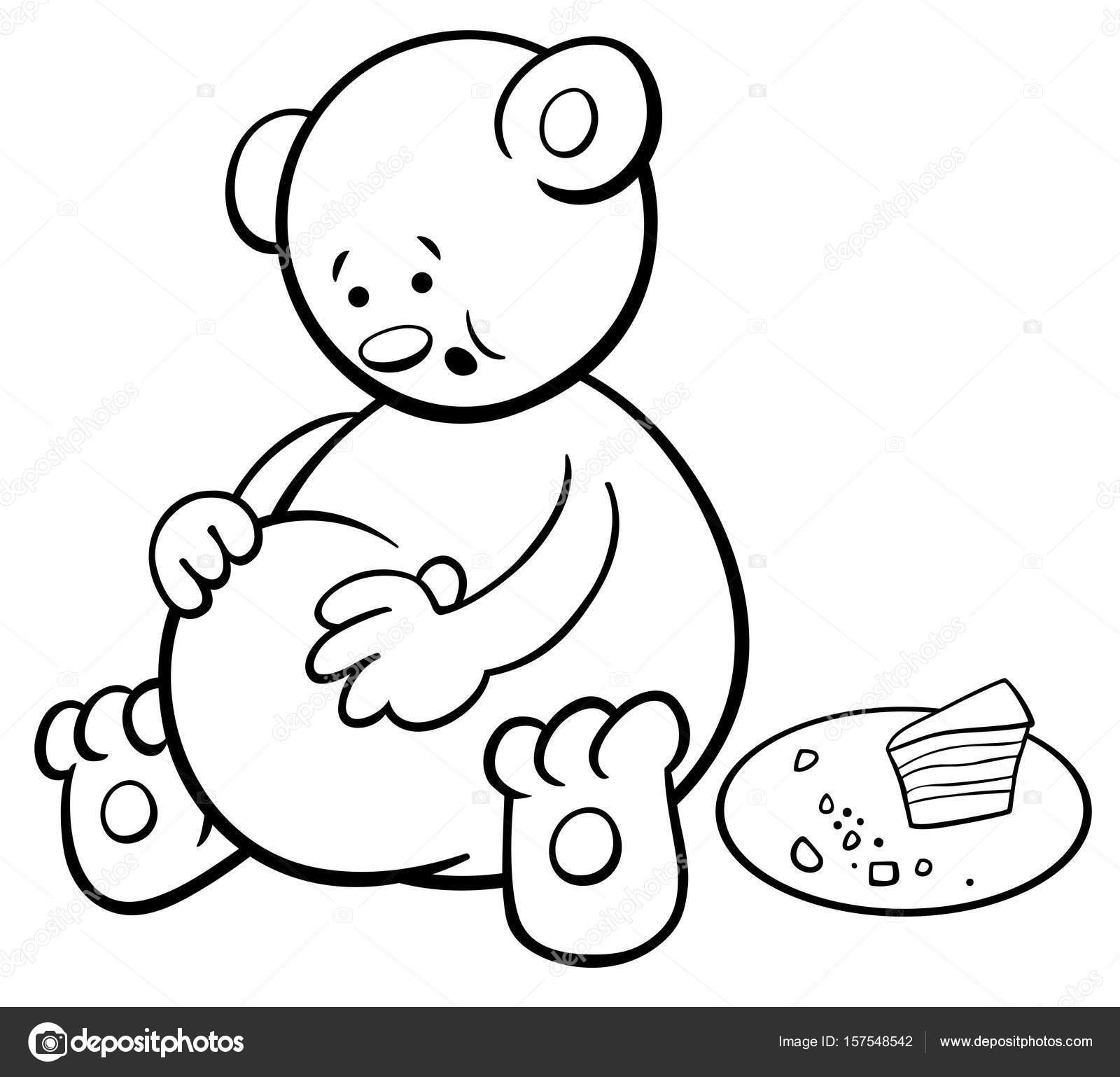 libro para colorear de dibujos animados del oso — Vector de stock ...