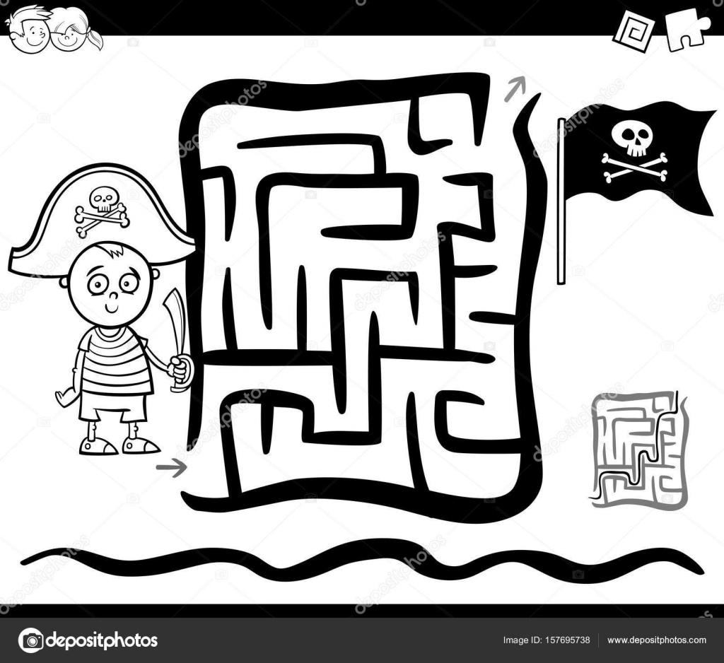 doolhof met piraat jongen kleurplaat pagina stockvector