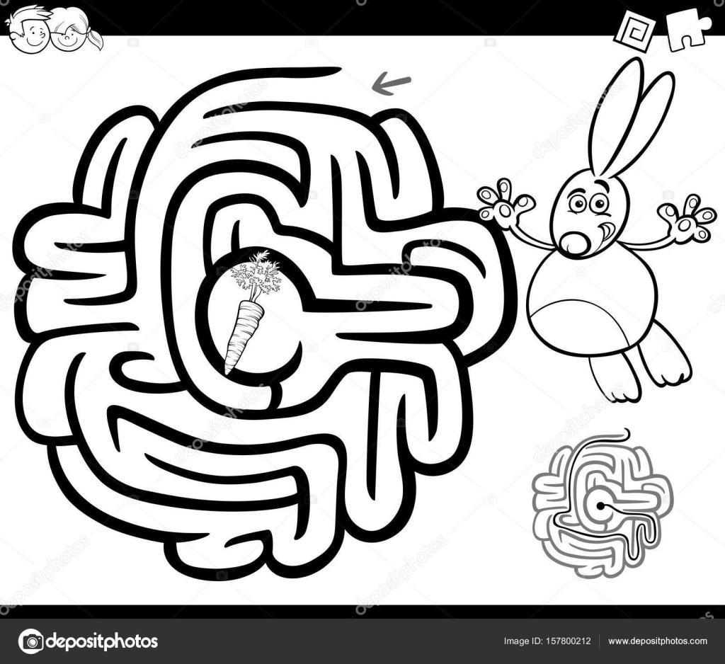 Labyrinth mit Kaninchen Malvorlagen — Stockvektor © izakowski #157800212
