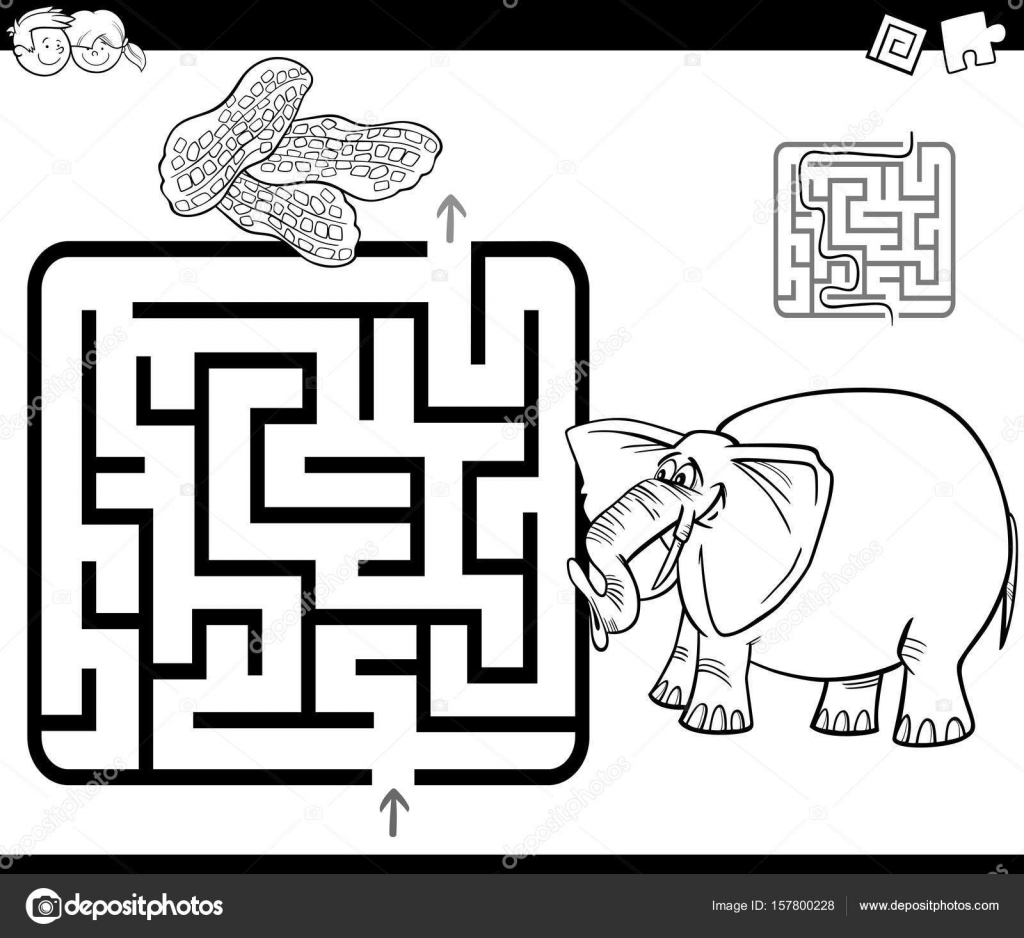 Cartoon Vector Illustration of Education Maze or Labyrinth Game for
