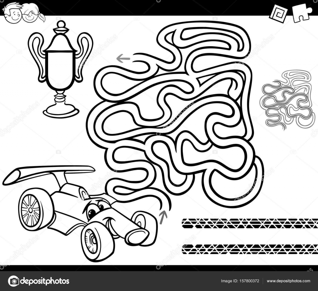 Black And White Cartoon Illustration Of Education Maze Or Labyrinth Game For Children With Racing Car Cup Coloring Page Vector By Izakowski