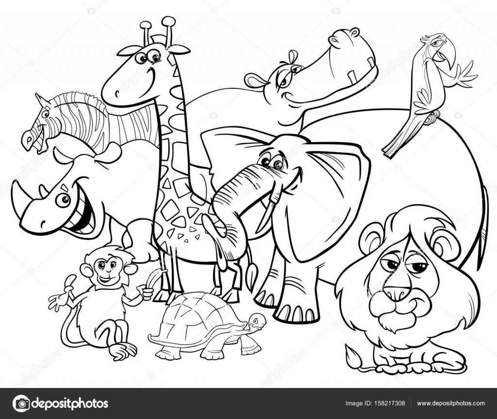 Kleurplaten Dieren In Het Wild.Cartoon Safari Dieren Kleurplaten Pagina Stockvector C Izakowski