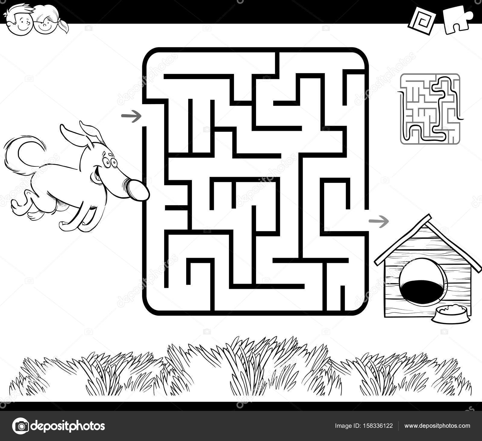 maze with dog and kennel coloring page — Stock Vector © izakowski ...