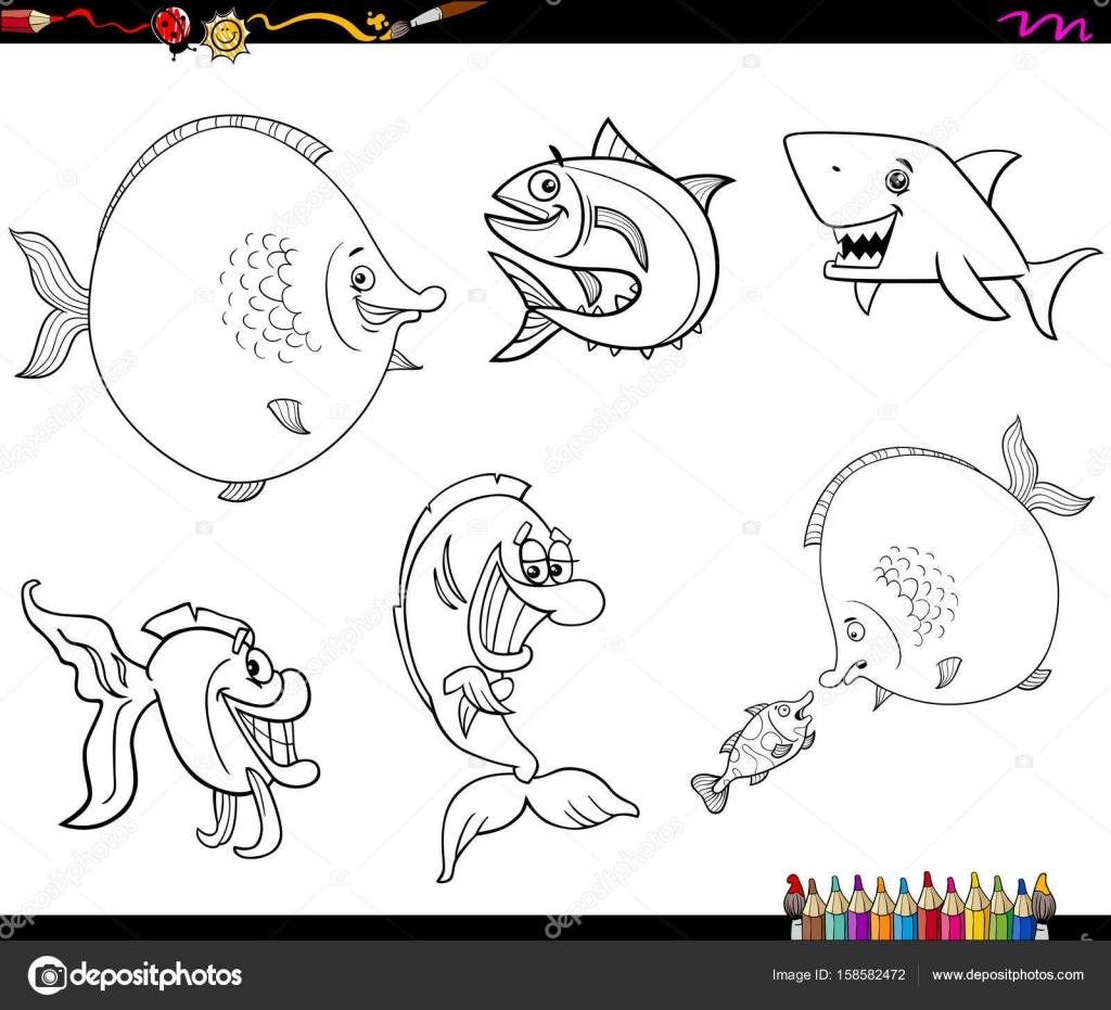 çizgi Film Balık Seti Boyama Kitabı Stok Vektör Izakowski 158582472