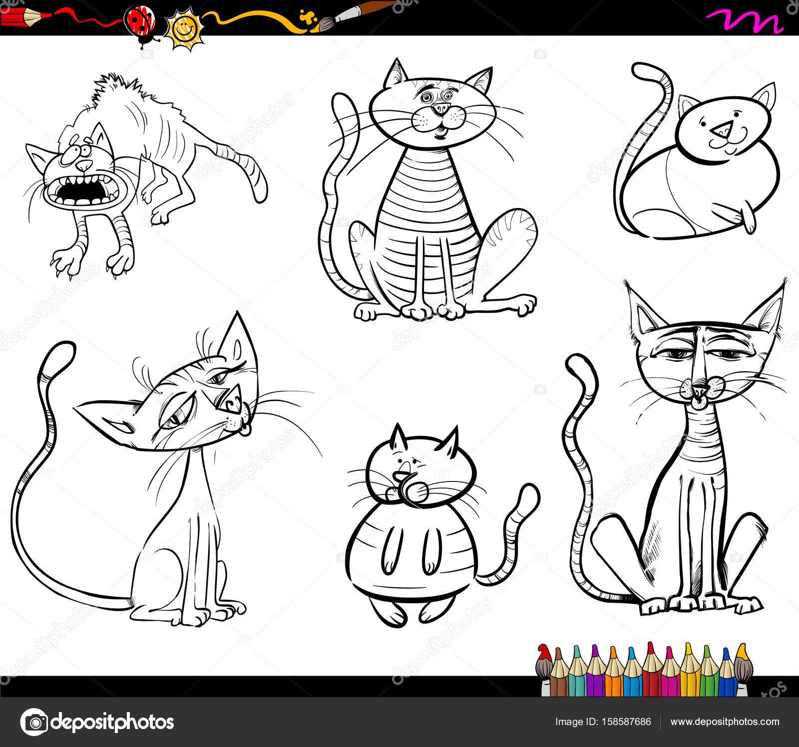 Kedi çizgi Film Karakterleri Boyama Kitabı Stok Vektör Izakowski
