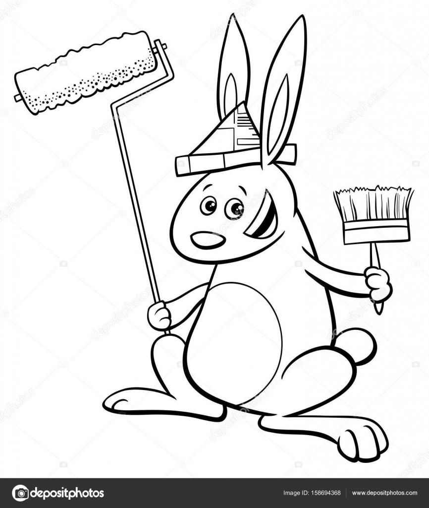 libro para colorear de conejo pintor — Vector de stock © izakowski ...