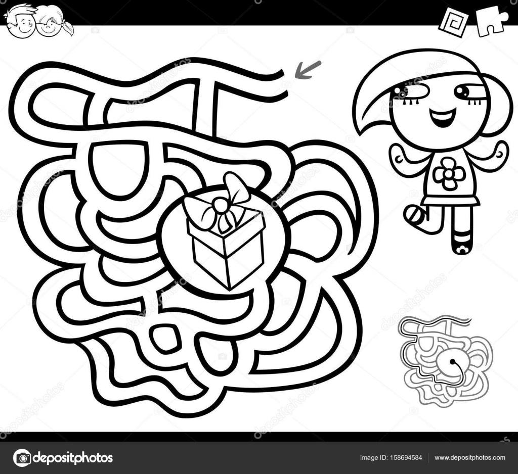 Labyrinth mit Mädchen und Geschenk Malvorlagen — Stockvektor ...