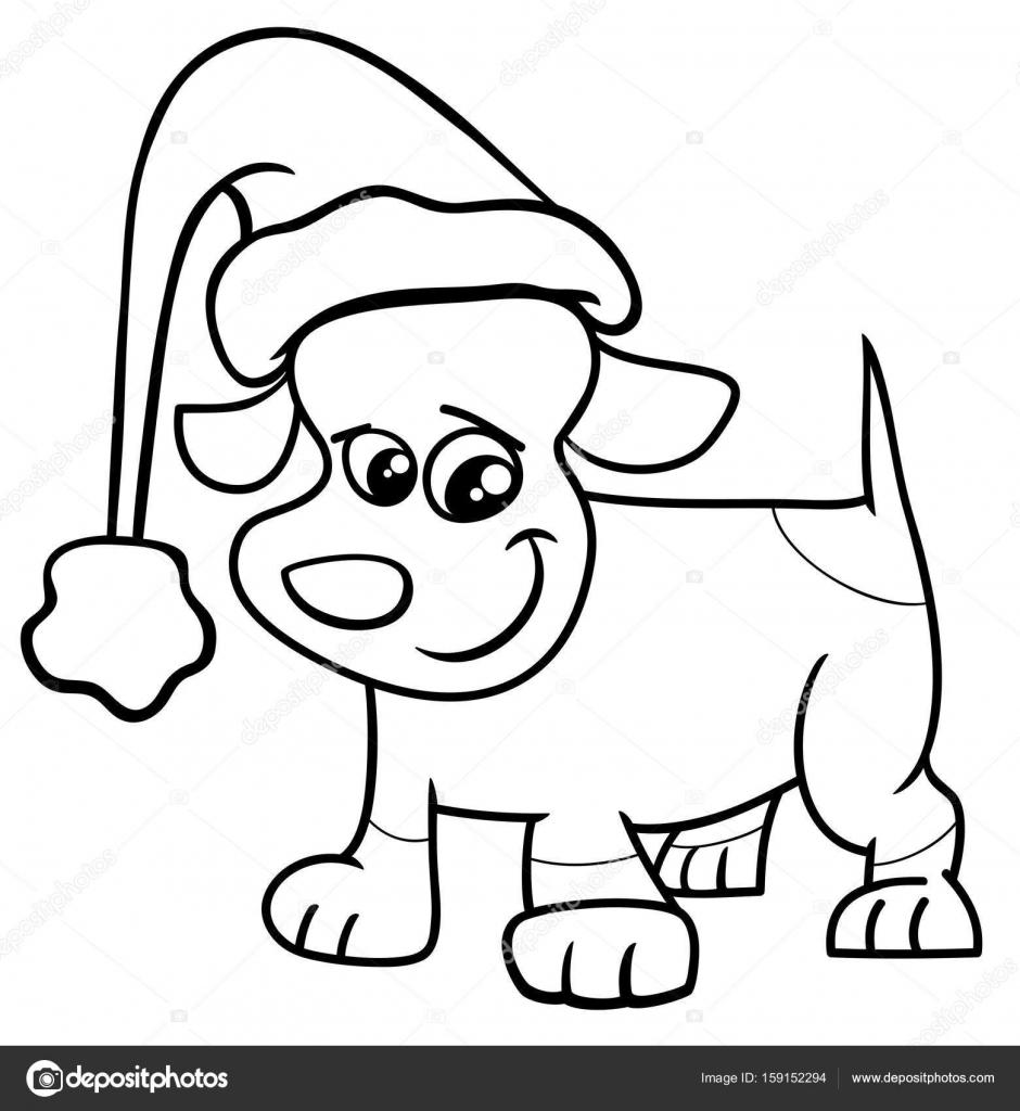 Imagenes Perritos De Navidad Para Colorear Perrito En Pagina Para