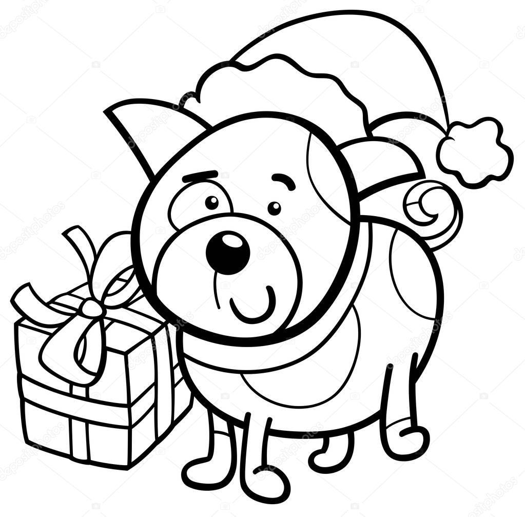 милый щенок на Рождественские раскраски книга — Векторное ...
