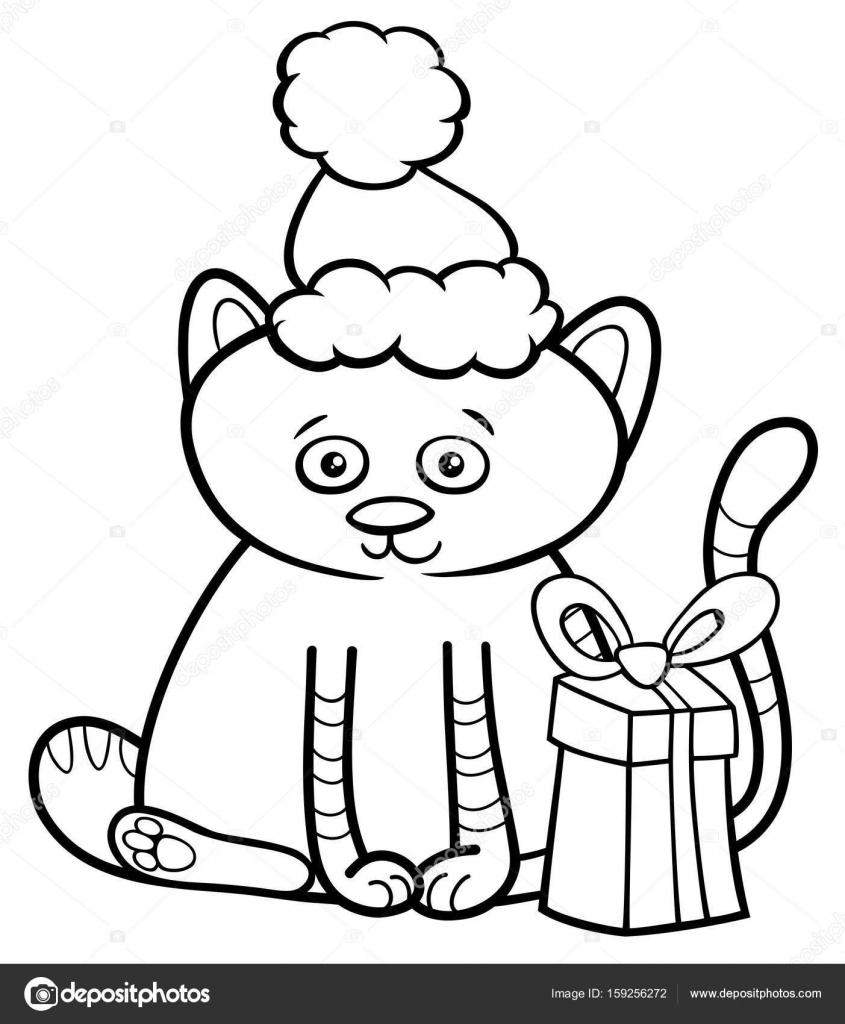 Yavru Kedi üstünde Noel Boyama Kitabı Stok Vektör Izakowski