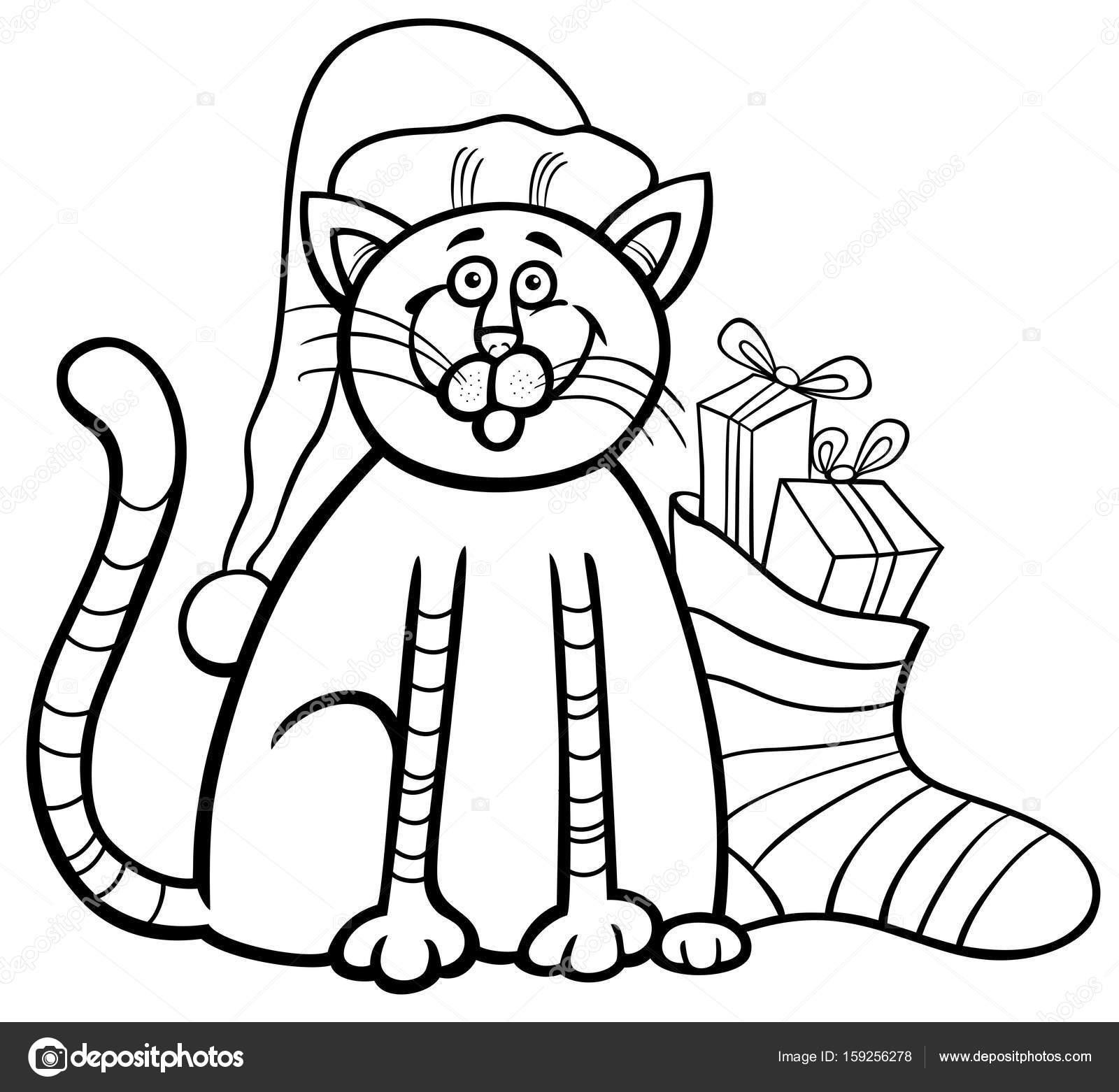 gato y calcetín de Navidad para colorear libro — Archivo Imágenes ...