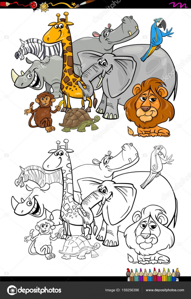 dibujos animados de animales de safari para colorear libro — Vector ...