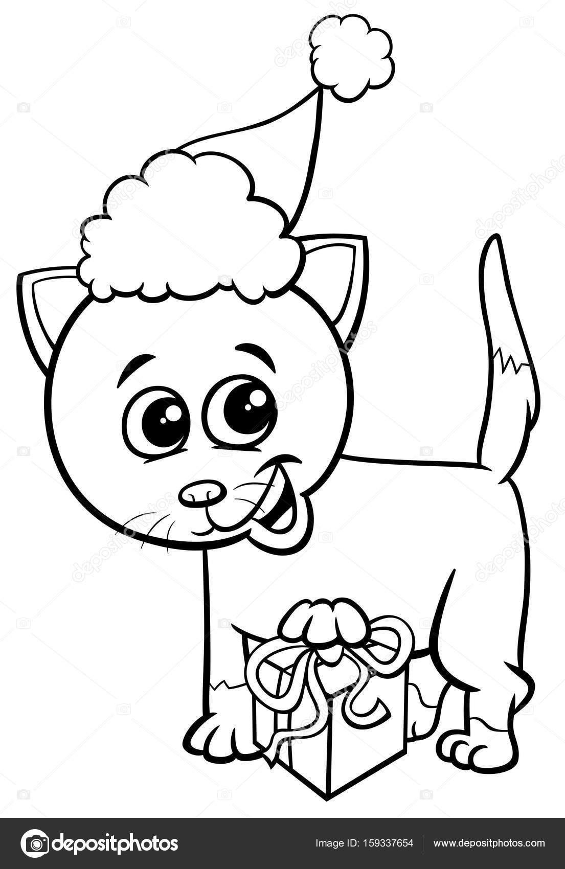 Gatito en época de Navidad para colorear página — Archivo Imágenes ...