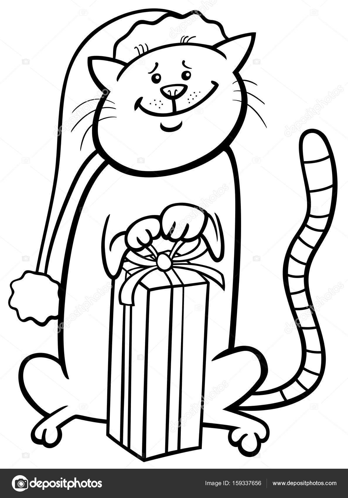 gato en dibujos animados de Navidad para colorear libro — Archivo ...