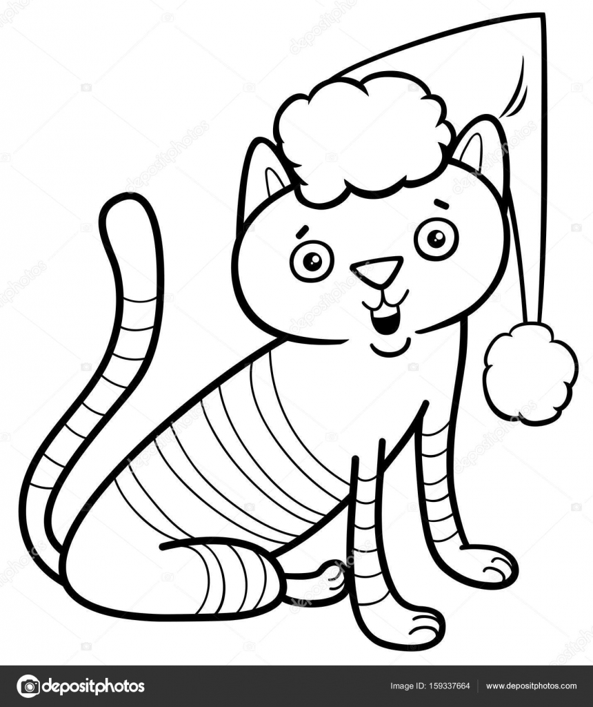 gato en Navidad para colorear libro — Archivo Imágenes Vectoriales ...