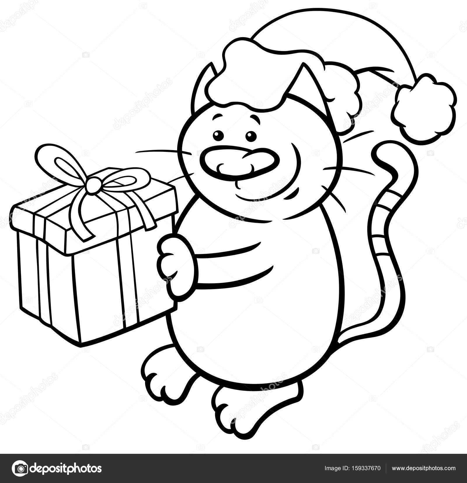 gato en página para colorear de Navidad — Archivo Imágenes ...