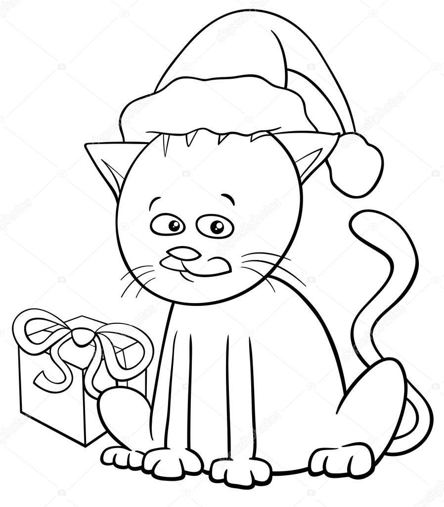 Libro de colorear de dibujos animados de gato Navidad — Archivo ...