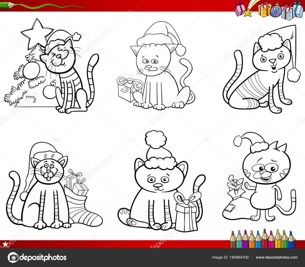 gatos en el conjunto de Navidad para colorear libro — Vector de ...