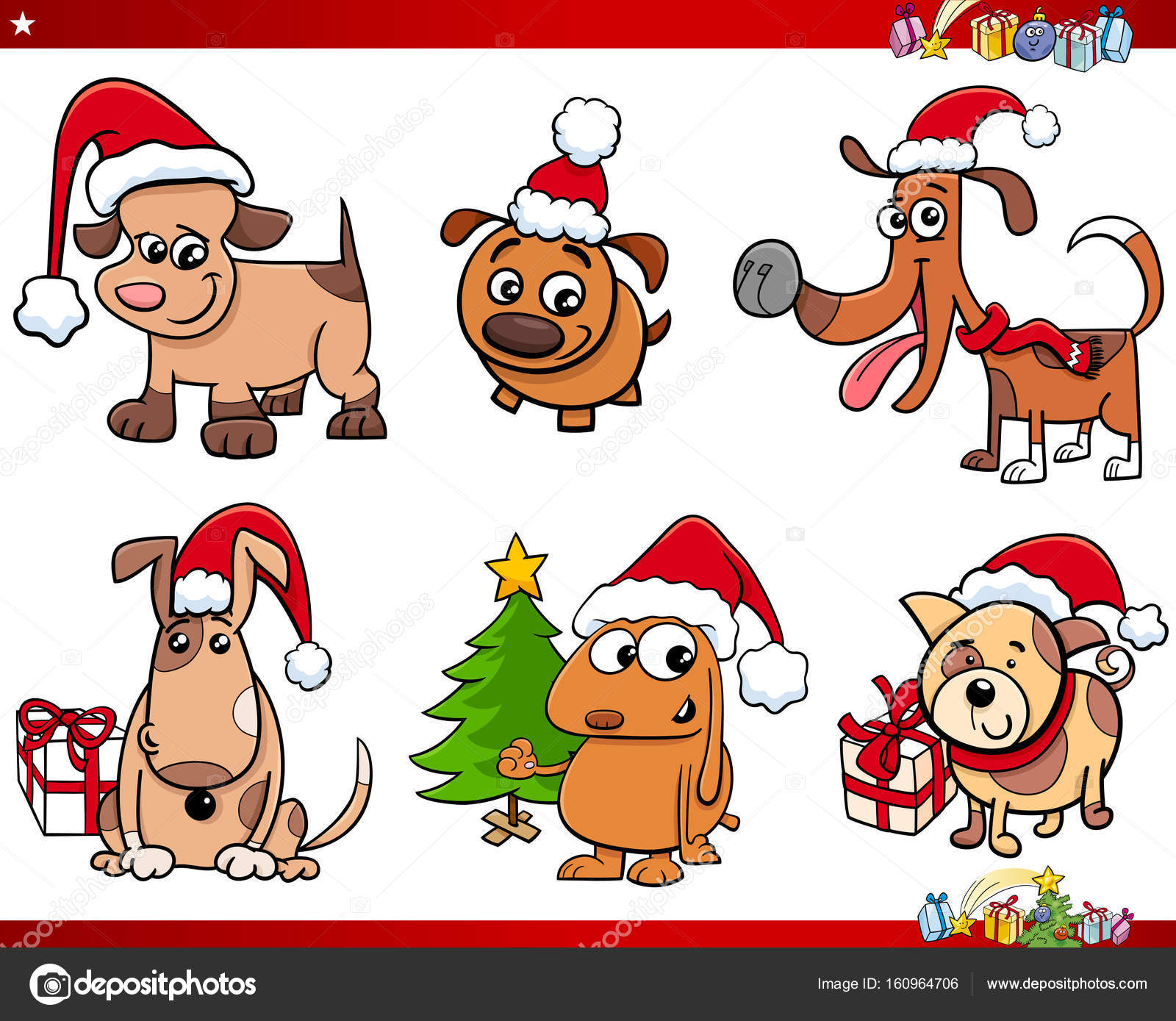 Comic Bilder Weihnachten.Comic Hund Figuren Auf Weihnachten Set Stockvektor Izakowski