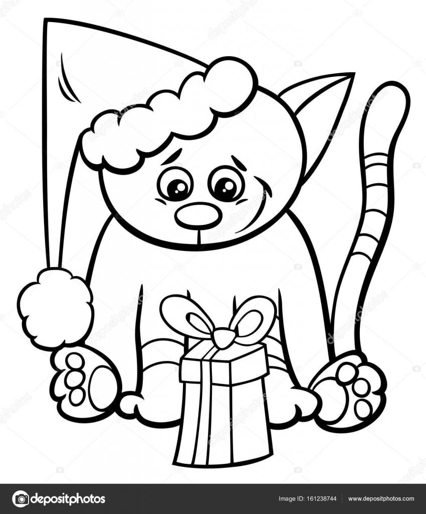 gato con regalo de Navidad para colorear libro — Archivo Imágenes ...