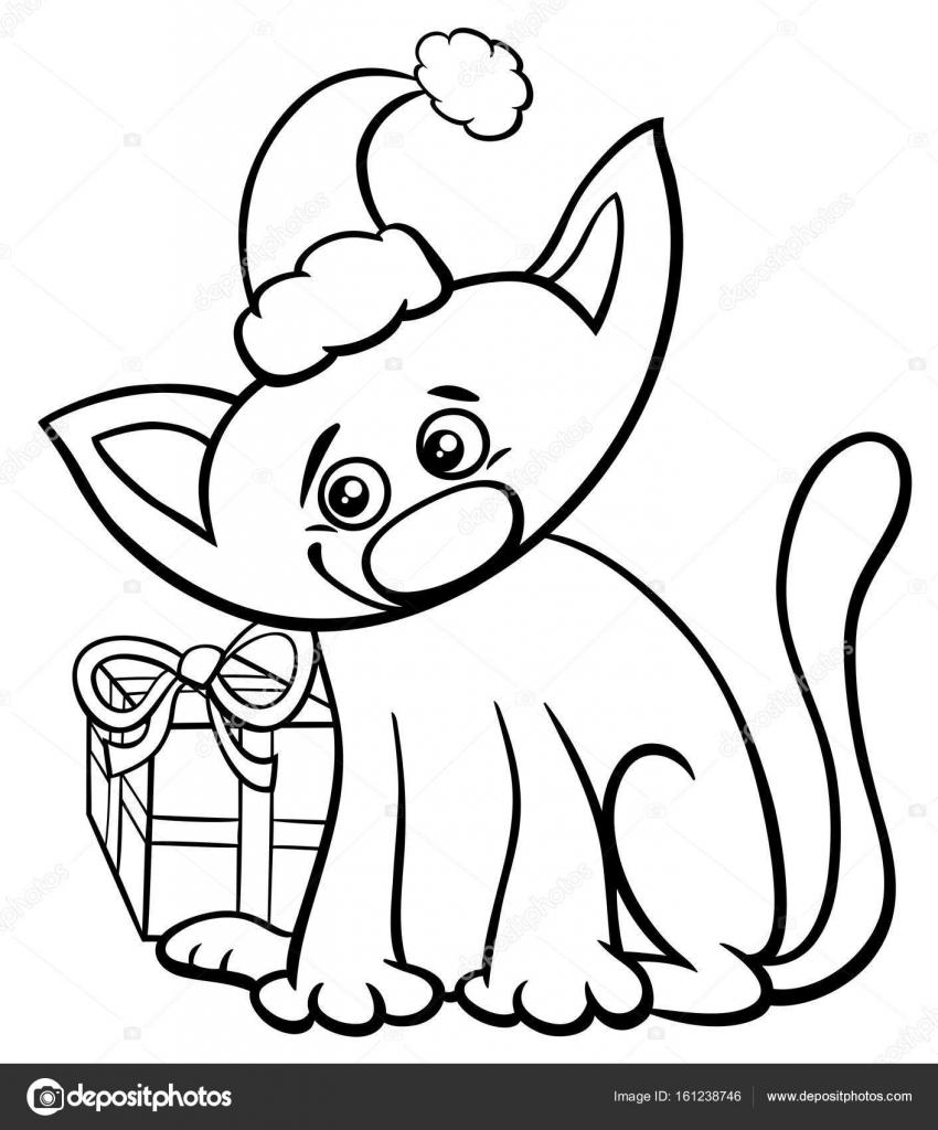 gato en época de Navidad para colorear libro — Archivo Imágenes ...