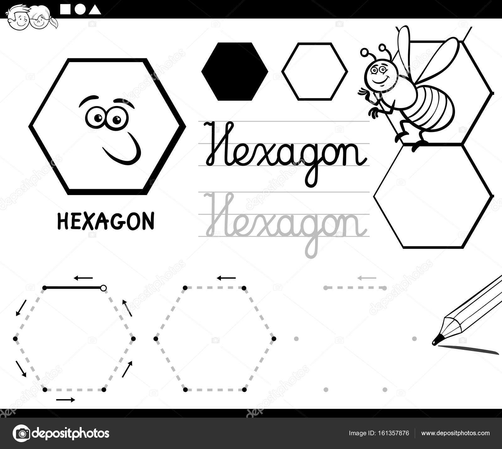 formas geométricas básicas del hexágono página para colorear ...