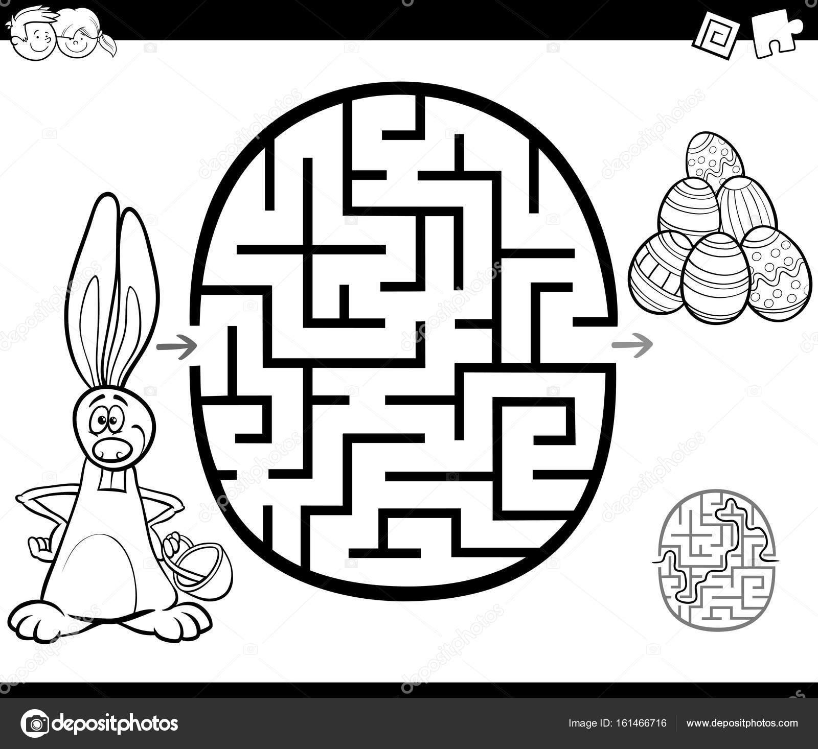 actividad de laberinto de Pascua para colorear — Vector de stock ...