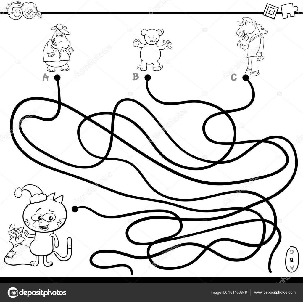 Yol Labirent Oyun Boyama Sayfası Stok Vektör Izakowski 161466848