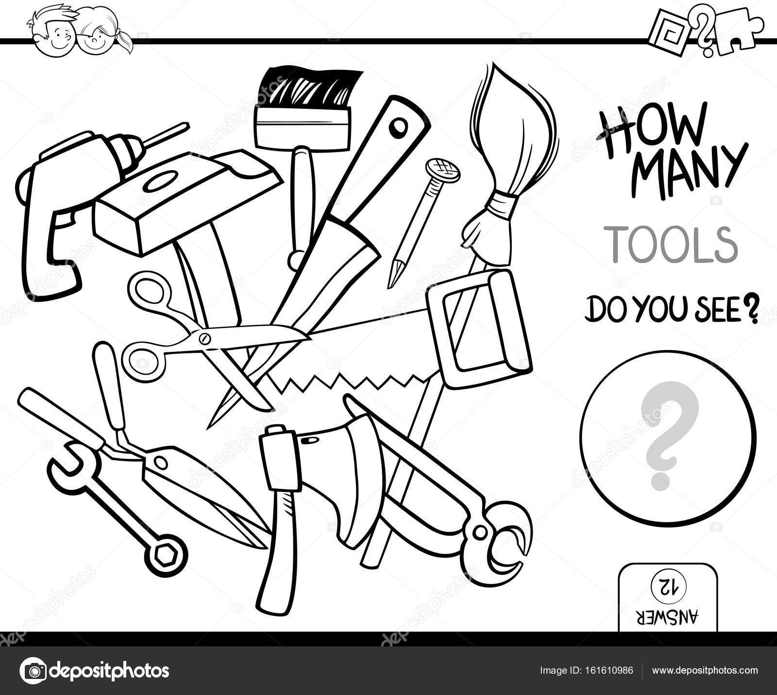 conteo de actividad de la página de colorear de herramientas ...