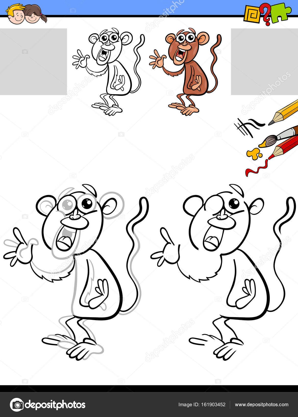 Zeichnung und Färbung Arbeitsblatt mit Affe — Stockvektor ...