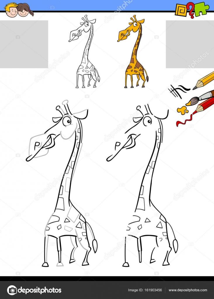 Zeichnung und Färbung Arbeitsblatt mit giraffe — Stockvektor ...