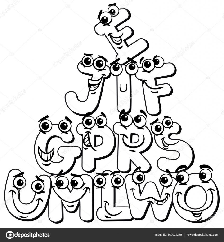 Caracteres De Letra De Dibujos Animados Para Colorear Libro