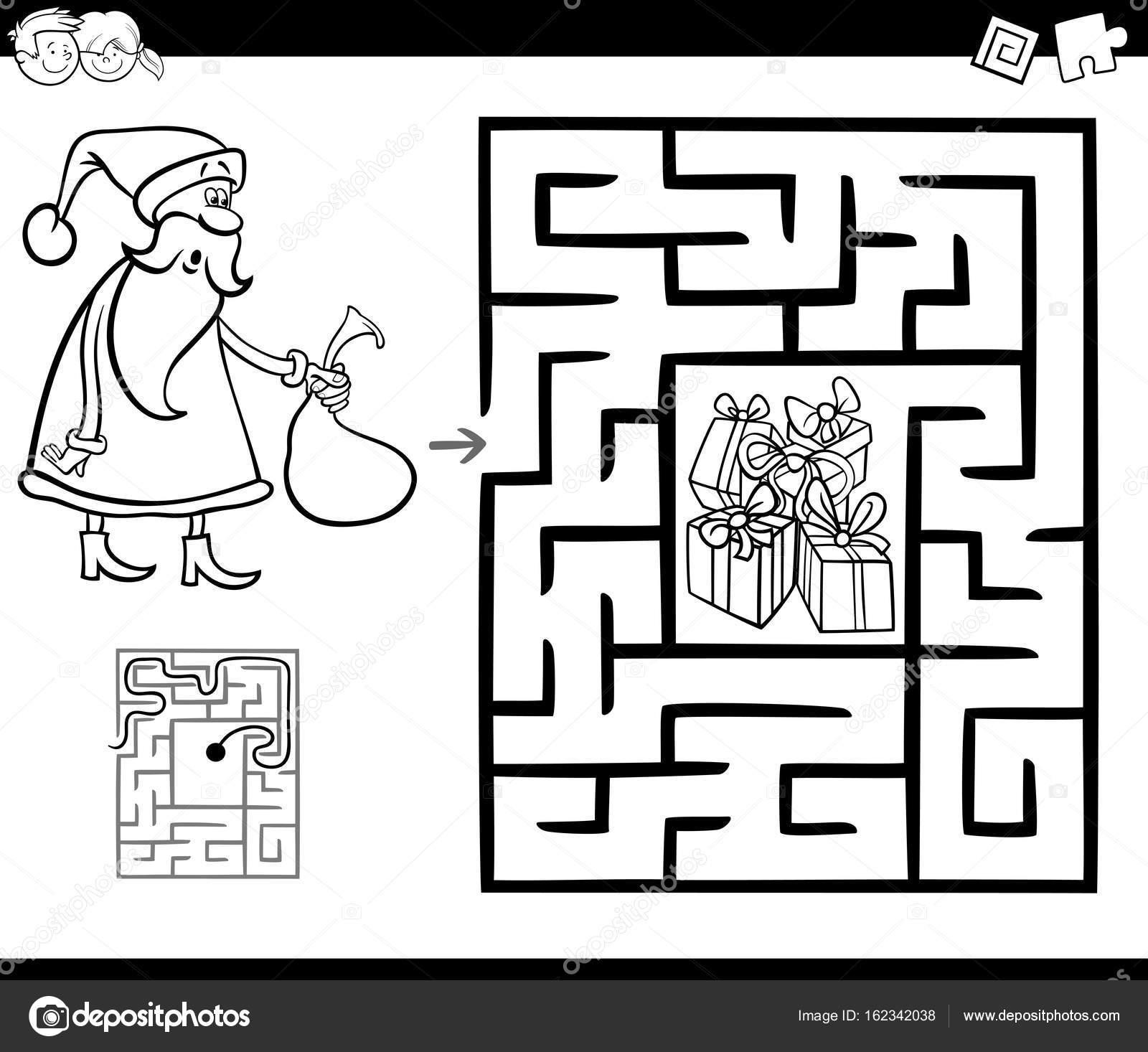 juego de la actividad del laberinto con Santa Claus — Archivo ...