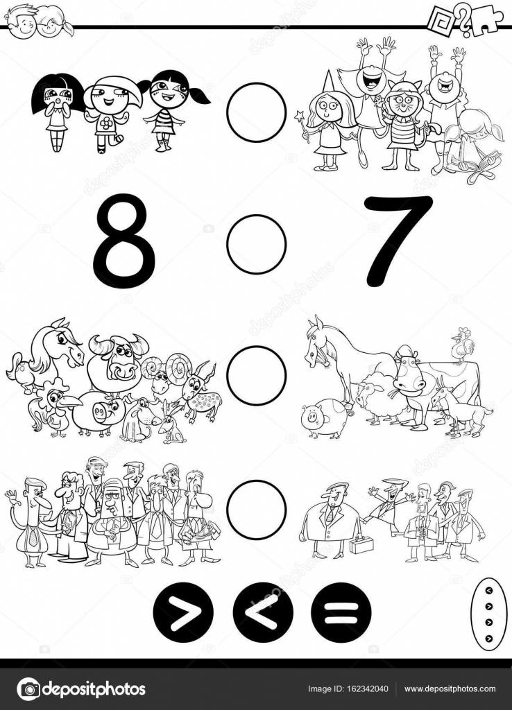 größer kleiner oder gleich Spiel Coloring Seite — Stockvektor ...